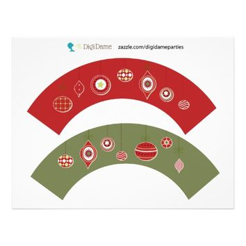 Christmas Baubles Cupcake Wrappers Red and Green