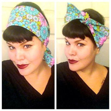 Vintage Inspired Head Scarf, Spring Retro Floral