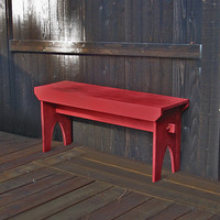 "Farmhouse Bench - Red distressed bench, rustic country painted bench 39"" x 19"" x 10.5"""