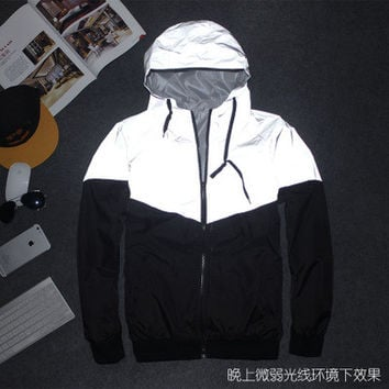 Men's Patchwork Reflective Waterproof Windbreaker Coat Jacket