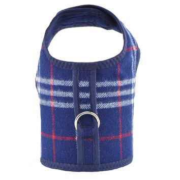 Blue Plaid Bushed Cotton Flannel Dog Cat Vest Harness