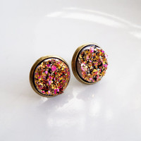 Pink and Gold Faux Druzy Studs - Druzy Stud Earring - Faux Plug Jewelry Fake Plug Earring Metallic Resin Cabochon Moon Rocks Gift For Women