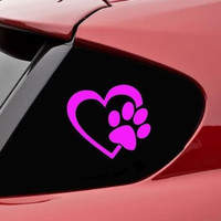 "HEART with DOG PAW Puppy Love 4"" (color:Pink) Vinyl Decal Window Sticker for Cars, Trucks, Windows, Walls, Laptops, and other stuff. CMI146"