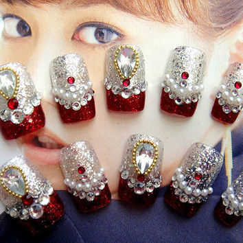 kawaii DIY fake nail.princess.3D,jewelry nails/