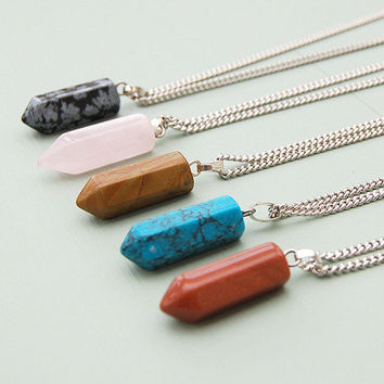Gemstone Long Pendent Necklace