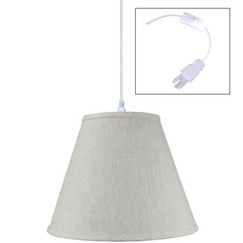 0-002949>Textured Oatmeal Linen 1 Light Swag Plug-In Pendant Hanging Lamp