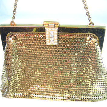 Whiting & Davis Purse Gold Mesh Rhinestone Clasp 1940s Evening Bag