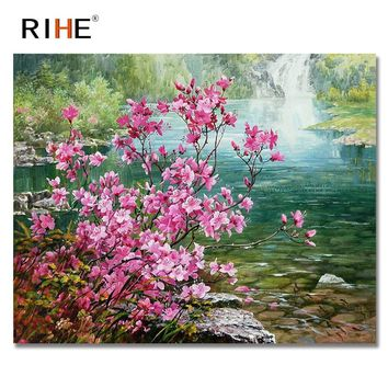 RIHE Waterfall Diy Painting By Numbers Pink Flowers Oil Painting Cuadros Decoracion Acrylic Paint On Canvas 2018 Modern Wall Art