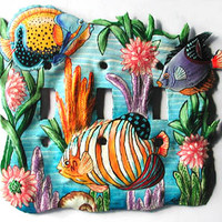 Painted Metal Switchplate - Tropical Decor - Light Switch Cover