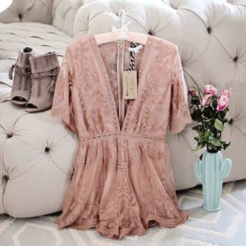 Tainted Rose Lace Romper in Taupe