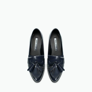 Vintage Flat Leather Tassels Shoes [4918359492]