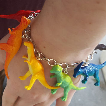 Dinosaur Bracelet Rainbow Multi Color Jumble Bracelet with Recycled Toys