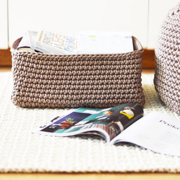 Crocheted storage basket / knitted magazine holder / handmade storage basket / crochet magazine rack / newspaper holder