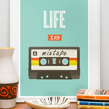 Quote art print Retro design poster music art mixtape by handz