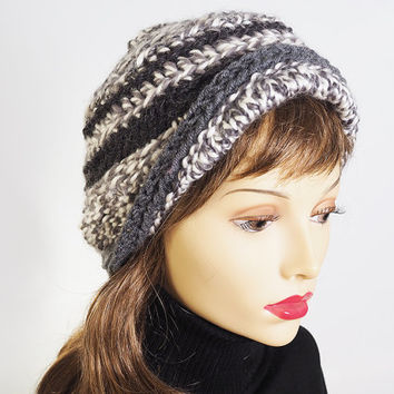 Gray and white hat , Ready to ship ,Fashion knit hat ,Charcoal tweed knit  hat , Knit cloche , Womans chunky knit hat , Warm winter hat
