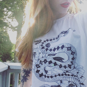 Snake & Peonies Tee - Illustrated screen printed graphic t-shirt