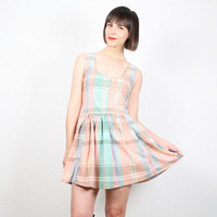Vintage Pink Peach Green Pastel Plaid Dress Micro Mini Dress 1980s 80s Sundress Babydoll Dress Skater Skirt Dress Kawaii Dress S M Medium L