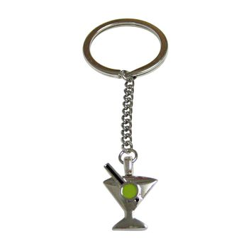 Silver Toned Detailed Martini Glass Keychain
