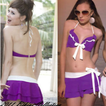 3PCS purple Push Up Swimsuit  bikini Size 6 8 10 12 14