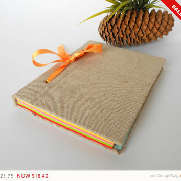 Sale -Autumn sale New- Reffilable handmade journal with fabric hardcovers and satin ribbon lash down binding- 200 color pages