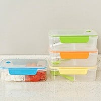 New Transparent Three Compartments Lunch Bento Food Box Snack Container Storage lunchbox