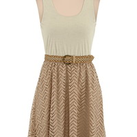 Belted Lace Skirt Tank Dress