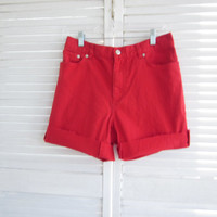 Vintage Red Denim Shorts Mid to High Waist Shorts Womens 10 Chaps Jeans  Stretch Denim Red High Waisted Denim Shorts