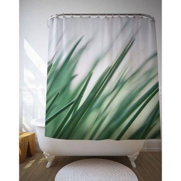Grass Art Curtain, Shower Decor, Green Bath, Nature Photography
