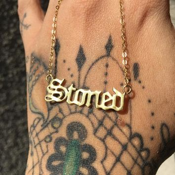 """Stoned"" 14k Necklace"