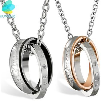 Boniskiss Her King/His Queen Lover Circle Pendant Necklace For Women And Women Silver Color Round Necklace For Couple Jewelry