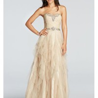 Crystal Beaded Prom Dress with Ruffled Skirt - Davids Bridal