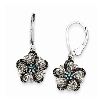 Sterling Silver Flower White, Black & Blue Diamond Leverback Earrings