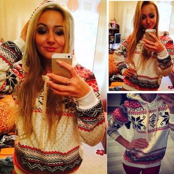 Hot Sale Women's Christmas Women Knitted Hoodies Pullovers Long Sleeve Knitwear Style Knitted Jumper