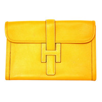 HERMES Yellow Epsom Leather Oversized 'Jige' H Clutch 1997