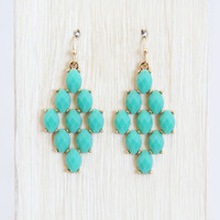 Teal Diamond Shape Dangle Earrings