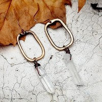 Stone Drop Geometric Earrings