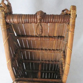 May Sale Wine Basket, Bamboo and Rattan, Vintage, 2 Bottle Carrier, Asian Decor, Flower Display, Glamping Gear