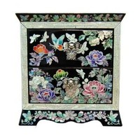 Beautiful Small Jewelry Box with 2 Drawers Decorated with Mother of Pearl. Peony and Butterfly.