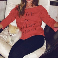 Wildfox Couture Love Is Everything Flash Dance Top in Blood as seen on Rosie Huntington Whiteley