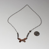 Copper hammered Butterfly necklace with Silver chain, strong magnetic made in the USA sterling closure