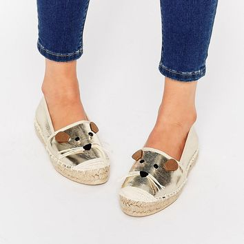 Miss KG Dayton Gold Mouse Flat Shoes at asos.com