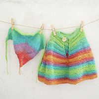 Baby Poncho Rainbow colors, Little girls Poncho Set with Matching Bandana, Cotton baby Clothing
