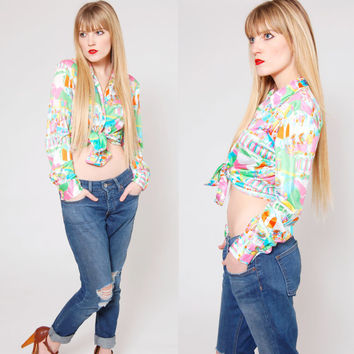 Vintage 70s Button Down Shirt Abstract PSYCHEDELIC Long Sleeve Collared NEON Novelty Top