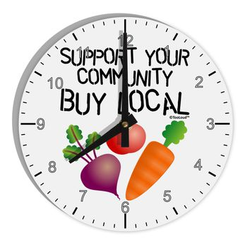 "Support Your Community - Buy Local 8"" Round Wall Clock with Numbers"