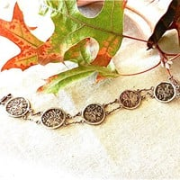 Old Sterling Link Bracelet of Five Ancient Hindi Coins with Images