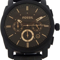 fossil - fs4682 stainless steel analog black dial watch