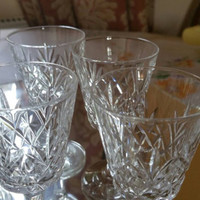 Set of 6 vintage crystal liqueur glasses /short stem cut glass/immaculate condition/shops worldwide from UK