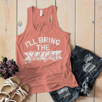Women's Matching Party Tank Bachelorette Party TShirt Best Friends Bring The Shot Glass Top