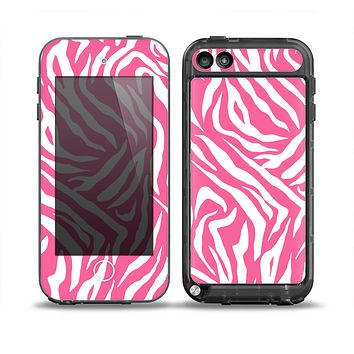 The Pink & White Vector Zebra Print Skin for the iPod Touch 5th Generation frē LifeProof Case
