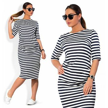 5XL 6XL Large Size 2018 Autumn Summer Dress Big Size Black White Striped Dress Straight Dresses Plus Size Women Clothing Vestido
